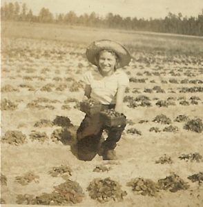 Mom in the strawberry field