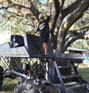 Mom on swamp buggy